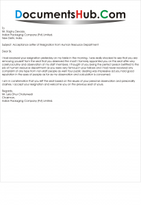 Resignation Letter To Hr from documentshub.com