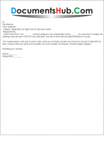 Sample Application Letter For The Post Of Security Guard