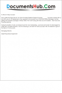 Experience_Letter_For_Senior_Accountant-201x300 Office Reference Letter Template on nursing school, personal job, for nursing professional, legal character, sample business, for former employee, for coworker,
