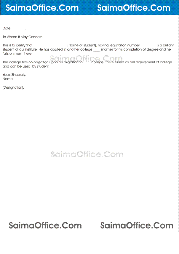 no objection letter from college noc letter format for students documentshub 23850 | NOC For College Transfer