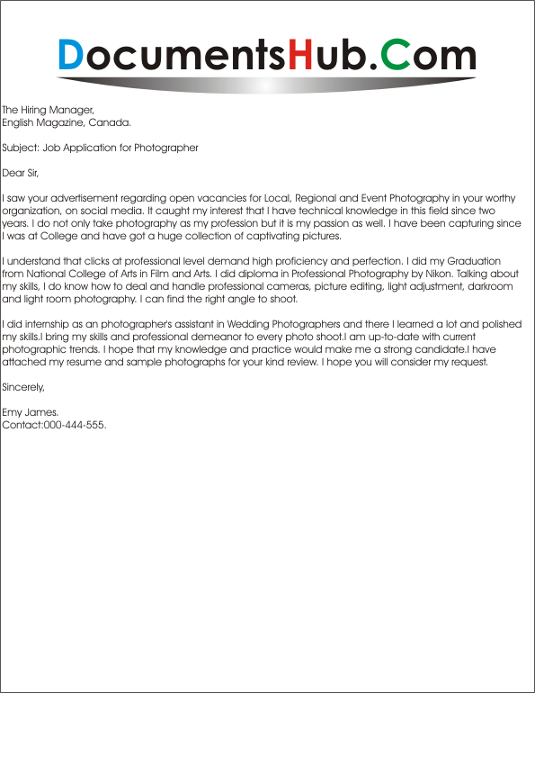 cover letter for photography cover letter for photographer documentshub 21085 | Cover Letter for Photographer