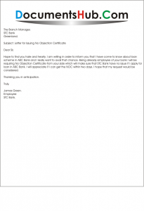 Letter For Noc From Bank