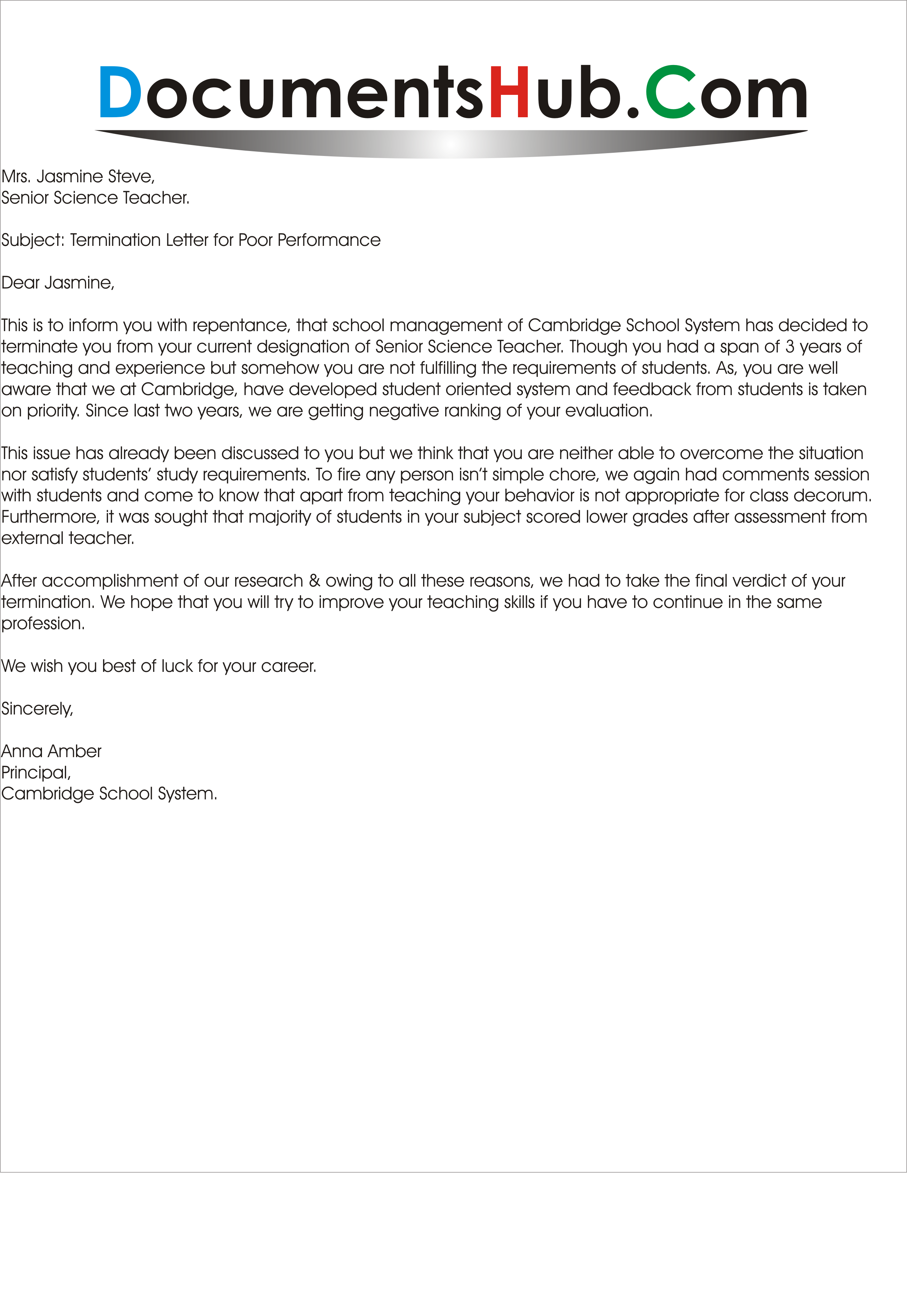 Letter of termination of employment kotoand letter of termination of employment employee dismissal letter sample expocarfo Choice Image