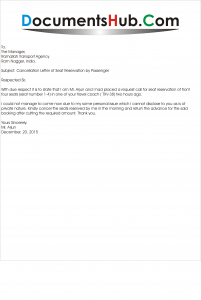 Cancellation Letter Of Seat Reservation By Passenger Documentshub Com